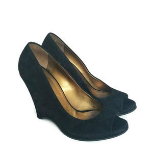 Miu Miu Black Suede Peep Toe Wedge Shoe